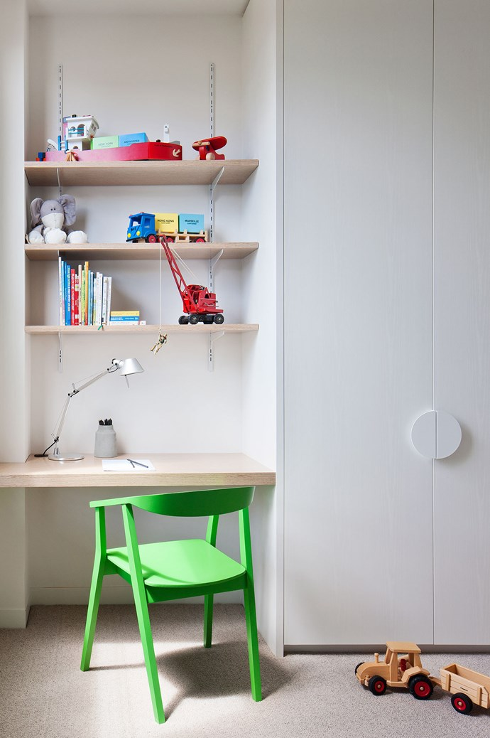 Awkward spaces can become things of beauty with clever thinking. Tucking a little work desk and open shelving creates a bolt of colour into a children's space. Room by [Nixon Tulloch Fortey](http://www.ntfarchitecture.com.au/). | Photo: Shannon McGrath