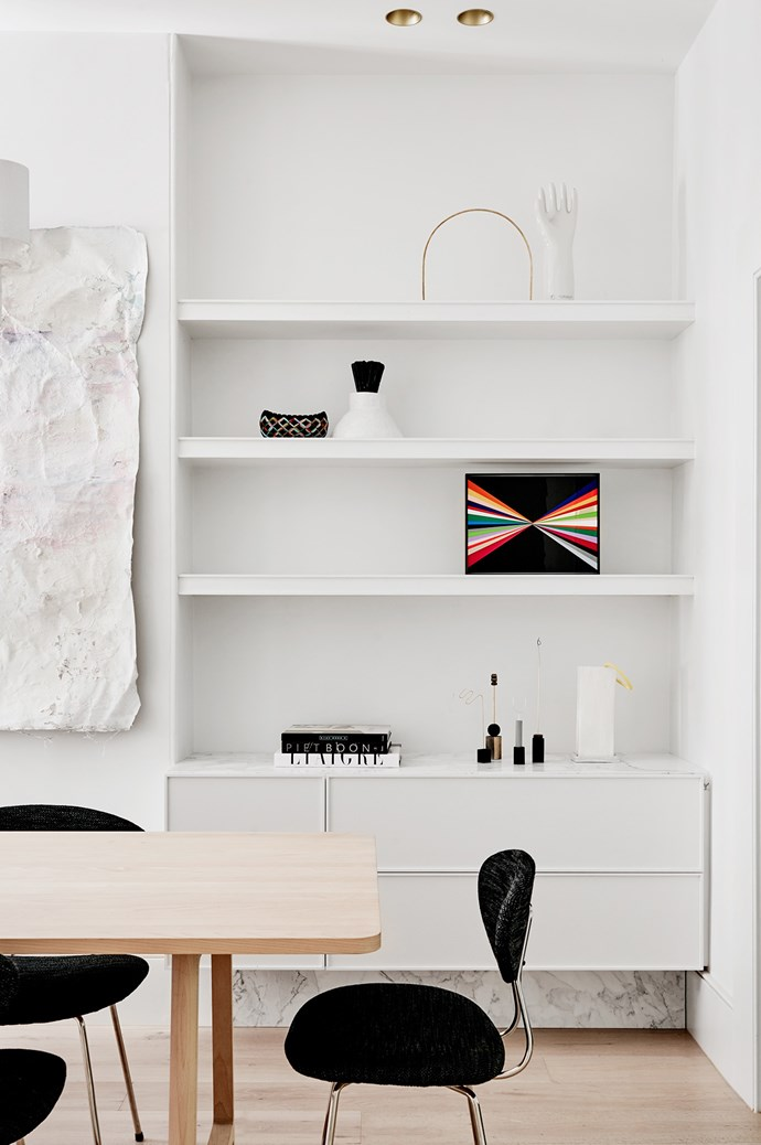 Let open shelving breathe. Balance is so important in small spaces. It's always easy to overwhelm a space with too many things, particularly through shelving. Here, [Flack Studio](http://flackstudio.com.au/) cleverly allow key pieces enough space to shine against a receding white palette. Photography by [Brooke Holm](http://www.brookeholm.com.au/) & [Marsha Golemac](http://marshagolemac.com/).