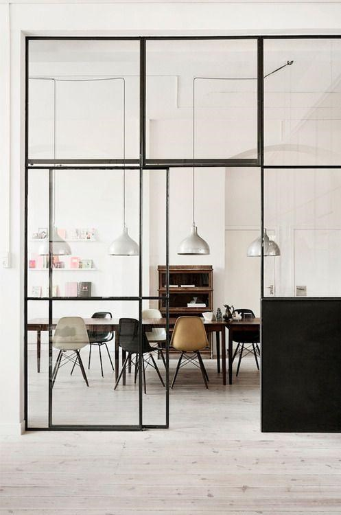 Metal window doors are the ideal choice for demarcating work and living areas without cutting off light. Conversely, you can close adjoining rooms off for noise or heating reasons whenever you fancy. Image courtesy of Heidi Lerkenfeldt/Stillstars.