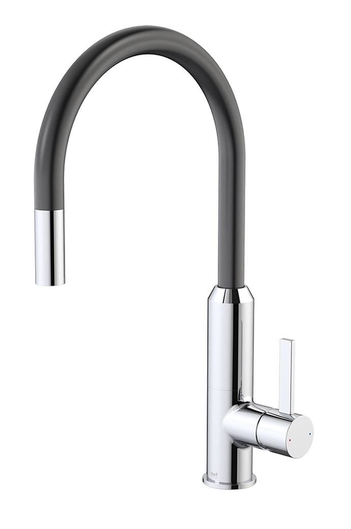 Vixen retractable sink mixer in Black, $414, [Dorf](https://www.dorf.com.au/)
