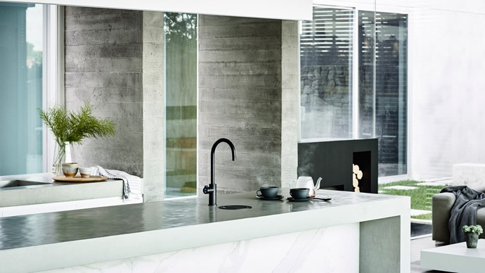 L or C shaped spouts are a practical option when washing large utensils. Hydro Tap Arc in Matte Black, $1995, Zipwater.