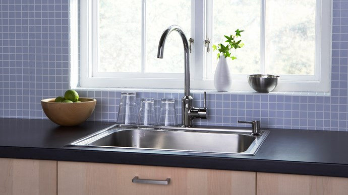 Tapware doesn't have to be expensive to be stylish and functional. RINGSKAR single-lever kitchen mixer tap in stainless steel, $79, IKEA.