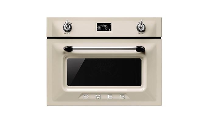 Victoria Enamelled metal Compact Speed Oven in colour Panna, $3490, Smeg, [smeg.com.au](http://www.smeg.com.au/)