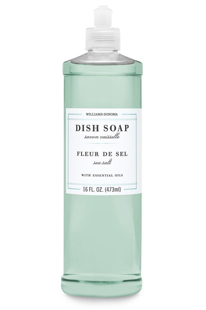 Essential oil dish soap in Fleur de Sel, $16 for 473ml, from Williams-Sonoma