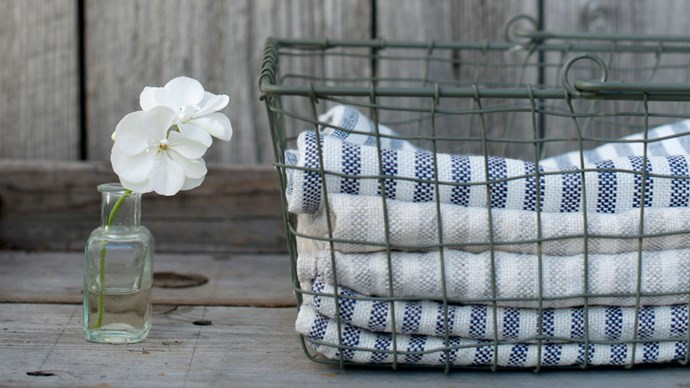 Fog Linen tea towels, $25, and Fog Linen 'Market' basket, $48, from fatherrabbit.com