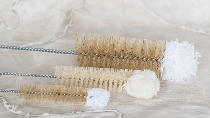 Wool and natural bristle wash brushes, $7 each, from The Lost & Found Department