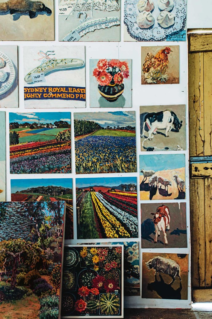 Lucy's painting repetoire extends across still-life, landscapes and portraits; specifically of her animals. Her menagerie includes chickens, ducks, geese, guinea fowl, pigeons, horses, cows, goats, a pig, a galah, a magpie and 42 sheep. Phew!