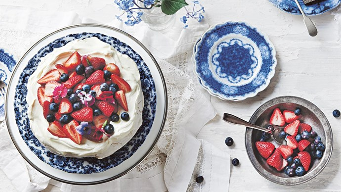 6. Serve up a pavlova topped with peaks of fresh white cream. Dip strawberries and cherries in white chocolate for post-lunch sweets, too. | Photo: Lisa Cohen