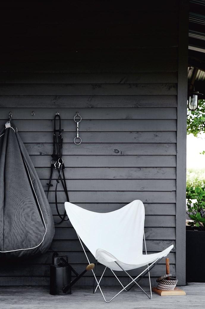 The bridle and bit for Flynn, Annabel's Dutch warmblood horse, hangs on the verandah.