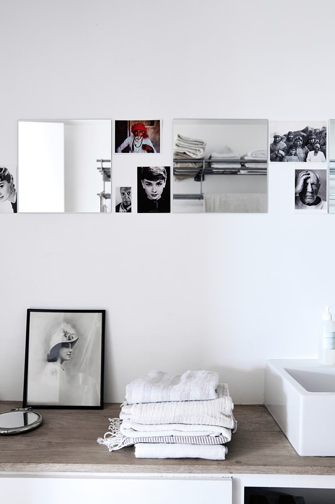 Monochromatic portraits on display in the bathroom. | Photo: Birgitta Wolfgang Drejer/Sister Agency