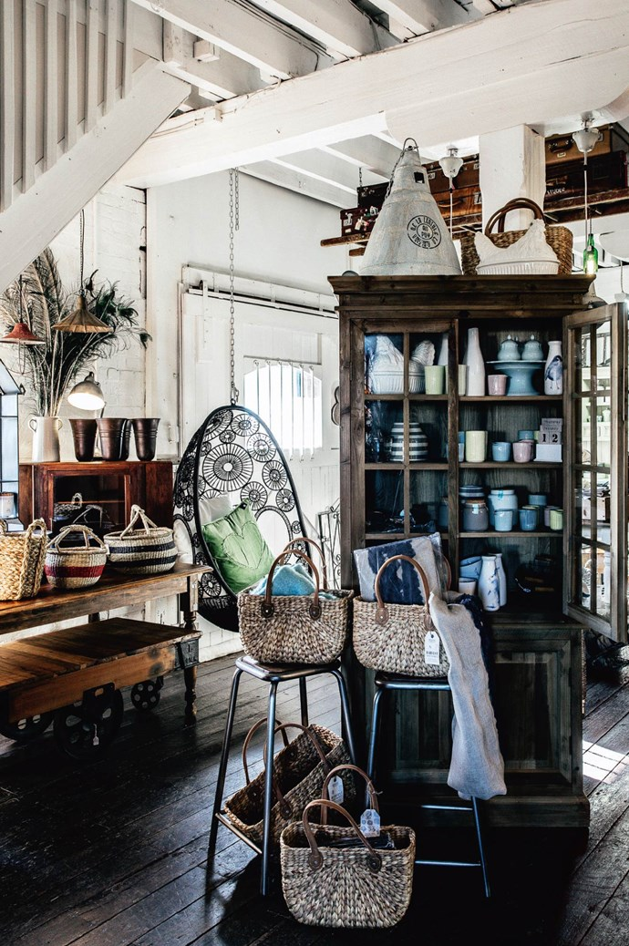 """The Black Hen made its nest in the refurbished interiors of a former clothing factory. An assemblage of farmhouse furniture sat under the staircase, which led to the upstairs workshop.  """"I only stock things I love,"""" Julie says. """"That's what I've done from the start."""" 