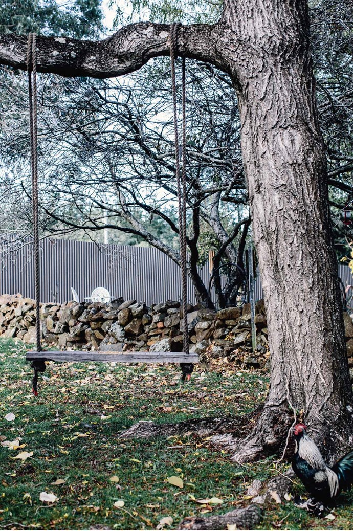 A swing is tethered to a willow tree in the garden. Life at The Black Hen continues to be imaginative, fulfilling and wonderfully balanced. Follow Julie's work on her [Instagram](https://www.instagram.com/theblackhen/?hl=en). | Photo: Felix Forest