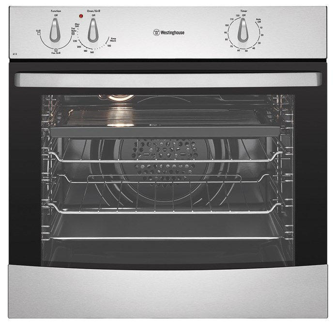 Westinghouse Electric Wall Oven in stainless steel, $1019, Winning Appliances, (02) 9694 0000, winningappliances.com.au