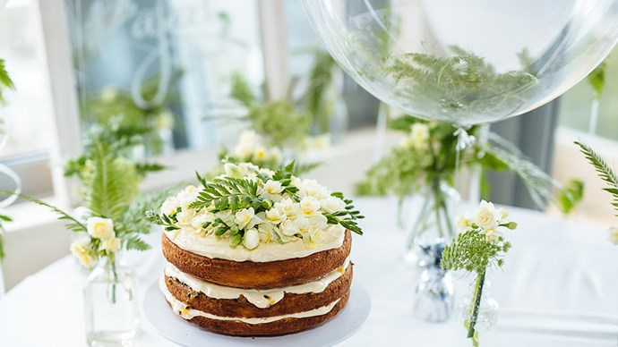 """This layered Victorian sponge, with cream cheese icing and passionfruit, was baked by Nikki herself. """"I'm a true believer that every special occasion needs cake. This old fox of a treat was made young and fragrant with fresh flowers from [Posy Supply Co.](https://www.instagram.com/posysupplyco/?hl=en),"""" she says. 