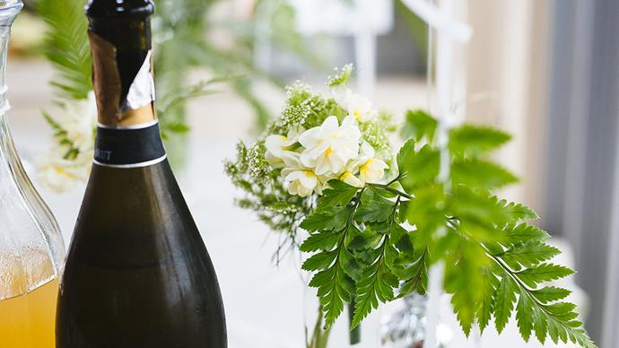"""""""It was such a treat to be so beautifully surrounded by greenery, balloons, beautiful girlfriends, friends and family, and of course champagne!""""  