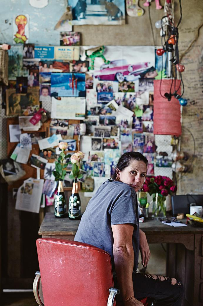 Paula's desk is decorated with photos and mementos. Her property is surrounded by family - daughters Ruby and Eva live with her on the farm, her mother Eliza lives next door, and her three sisters are just down the road.
