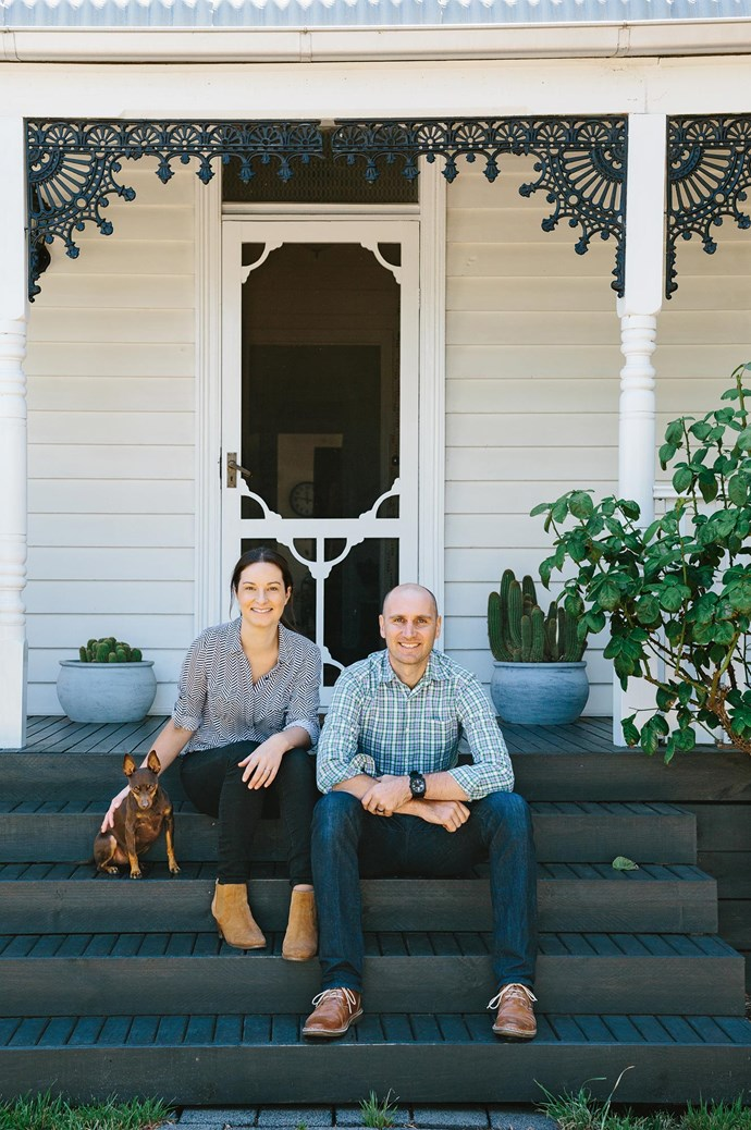 """While the couple were Melbourne-based, they both grew up in rural Victoria and even attended the same school as youngsters. Marnie says, """"Ryan was my brother's best friend, but I had no recollection until I 're-met' him when I came back from backpacking the world after university."""" The couple relax on the porch with their miniature pinscher, Dexter."""