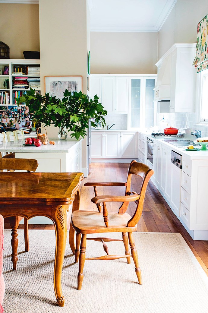 "Hugh and Gina share a love of design and local artisanship. The kitchen, which has undergone numerous redesigns for practical family living, exhibits a 1920s [French farmhouse](https://www.homestolove.com.au/french-country-style-13845|target=""_blank"") table purchased from a Hunter Valley antiques store."