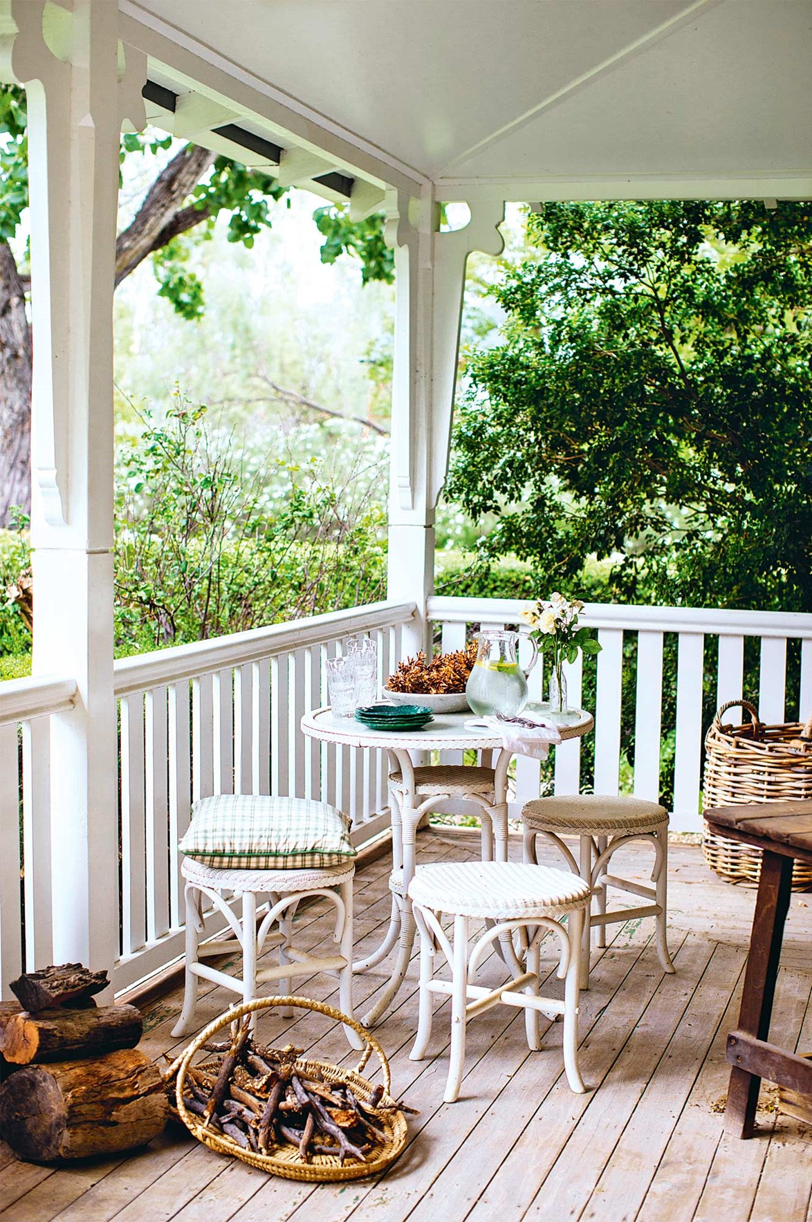 "If verandahs could talk! Four generations of the Livingstone family have enjoyed this leafy corner at the [stately Boolooroo homestead](https://www.homestolove.com.au/inviting-100-year-old-homestead-13775|target=""_blank"") near Moree. It's also where the family keeps firewood and kindling during winter. *Photo: Kara Rosenlund*"