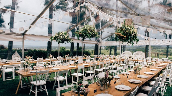 Follow your ceremony at [Byron View Farm](http://byronviewfarm.com/) with an intimate seated reception on the cottage verandah or under a marquee (pictured). Image courtesy: [Figtree Wedding Photography](http://www.figtreepictures.com/)