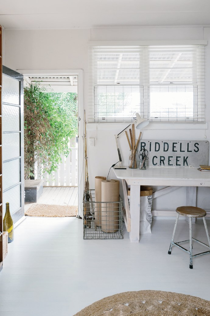 Adjacent to the 1890s house was a tiny cottage, formerly Riddels Creek post office - where Marnie's photography studio is now situated. The 'Riddels Creek' sign was found under the house.
