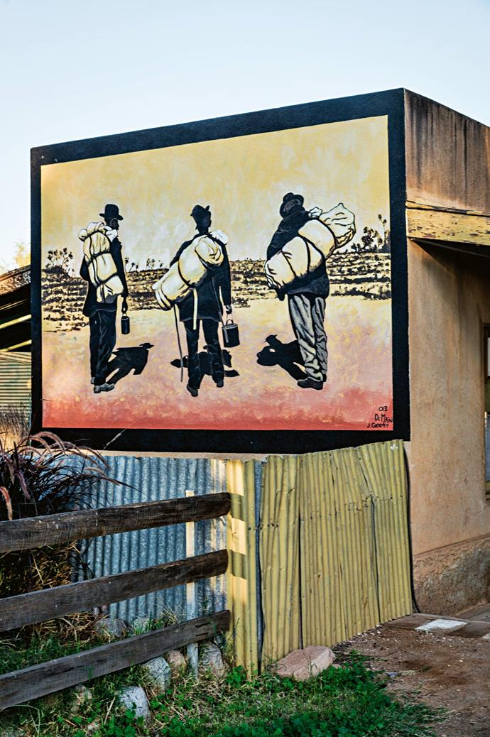 Former figures who roamed the desert live on in murals, painted by some of the 200 residents of Tibooburra.