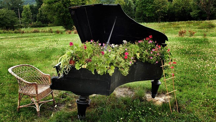 Our gardening instincts are singing to a different tune - and that is, your blooms don't need to be confined to traditional planters. Grow them from an old piano. Or click through for our other planter ideas...