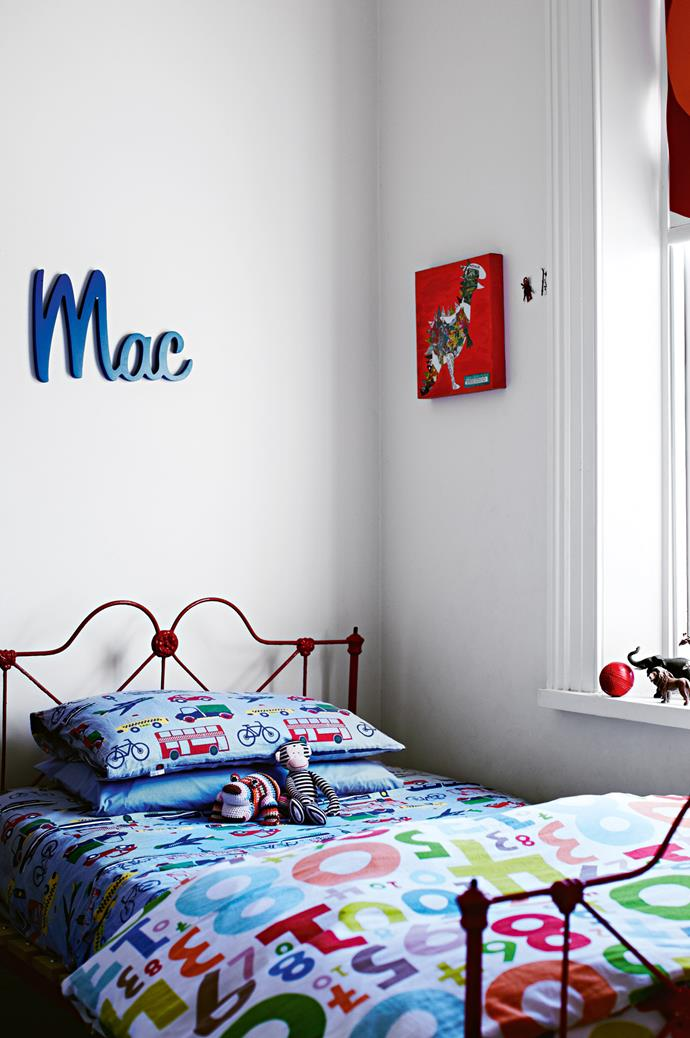 """Mac's bedroom was customised by family friend Madeleine Grummet of [Do Re Me Creative](http://www.doremecreative.com