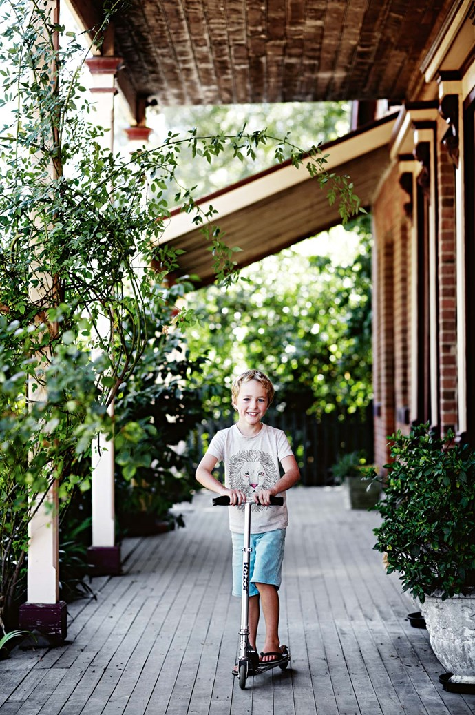 "Harvey cruises down the verandah. ""The kids spend their lives on bicycles and run around and explore,"" Jonathan says. ""We'll go camping on the weekends and visit wineries, and there's always a festival."""