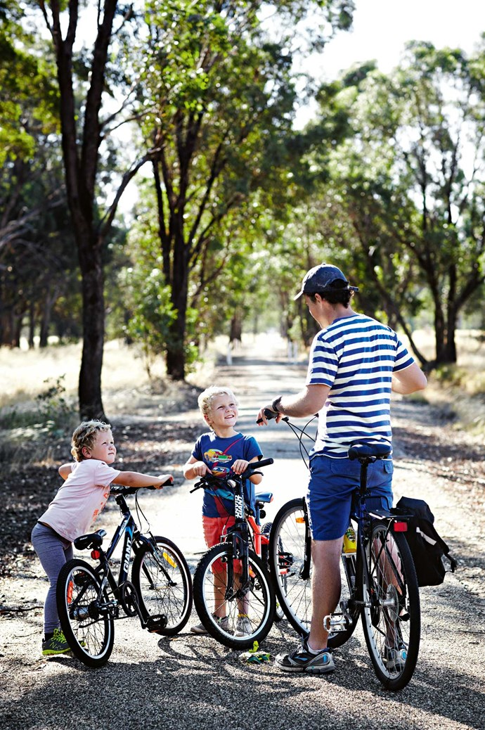 "The family run cycle tours through the Tarrawingee region's food and wine hot spots. To conclude each expedition, Lou prepares lunch for their visitors. ""It's a lovely feeling to sit down at the end of the day and have vegetables you've grown on your plate,"" she says."