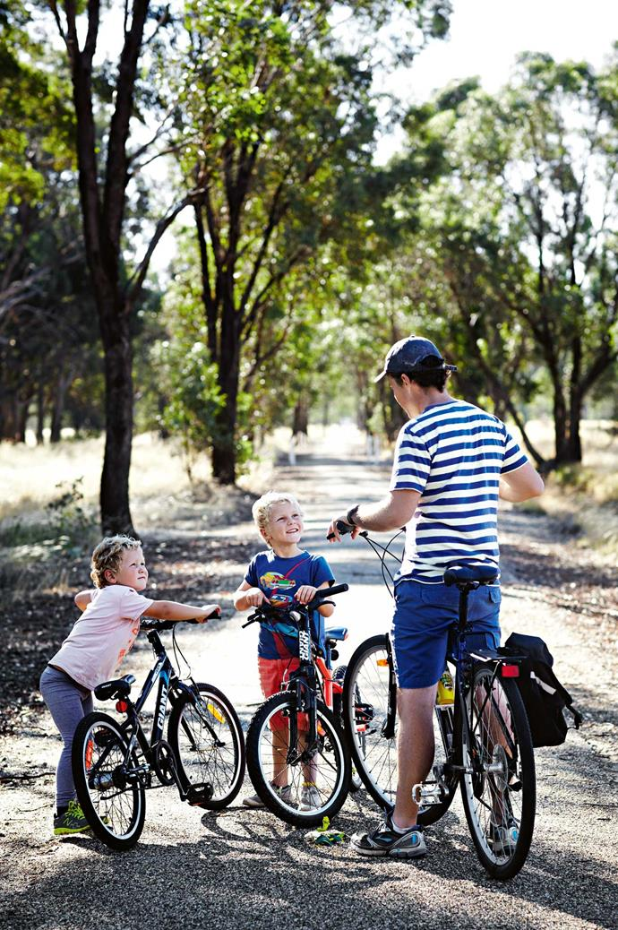 """The family run cycle tours through the Tarrawingee region's food and wine hot spots. To conclude each expedition, Lou prepares lunch for their visitors. """"It's a lovely feeling to sit down at the end of the day and have vegetables you've grown on your plate,"""" she says."""