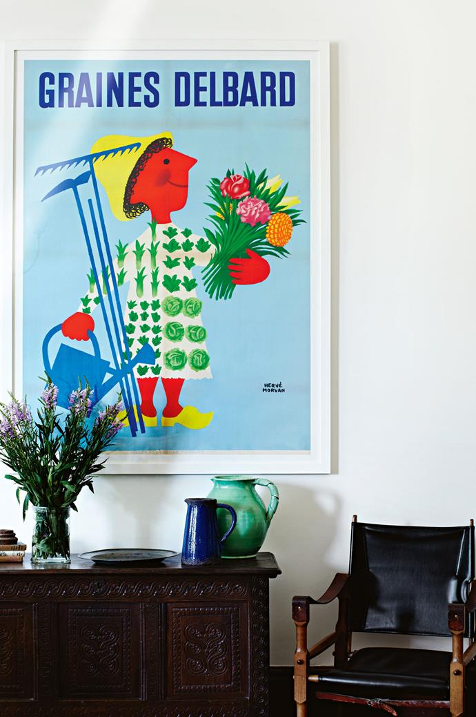 Their boys appreciate a burst of colour. In the dining room, a 1950s French farm poster hangs above a sideboard that belonged to Jonathan's mother.