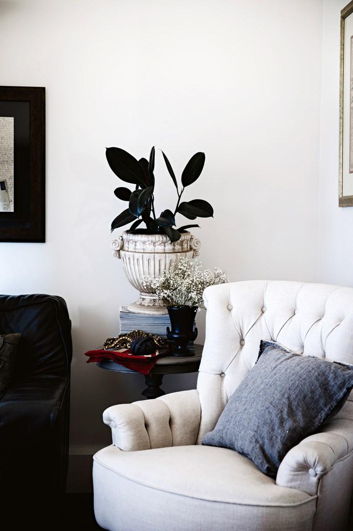 A linen chair from [Early Settler](http://www.earlysettler.com.au/) and cushion from [Hale Mercantile Co.](https://halemercantilecolinen.com/)