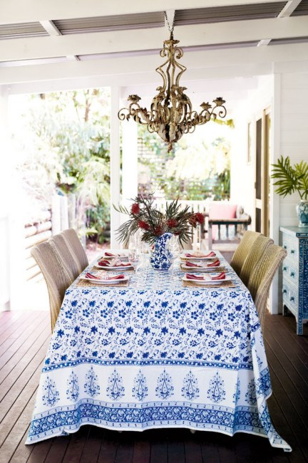 Anyone who knows Anna's work knows how much she loves blue and white. Here, her favourite tablecloth is set out for holiday lunch.   Photo: Jared Fowler