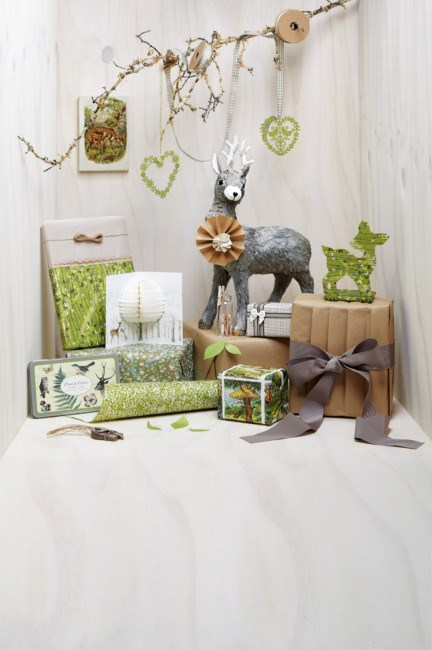 Woodland (On wall)  *   'Woodland' print, 'Pigeon' ornament and  'Elena' ornament from [Venucci](http://www.venucci.com/). *   Ribbon in cream-and-grey, Gingham ribbon, paper string, tags, and beige ribbon from [Ornamenta](http://www.ornamenta.com.au/). *   Paper, stylist's own, treated with 'Florentine' border punch and bow from [Cristina Re](http://www.cristinare.com/). *   'Chiyogami 316C' paper, 'Chiyogami 710C' and 'Weave Bone' tissue from [Monograms Fine Papers](http://www.finepapers.com.au/). *   'Pop-Up Tree' card from [Telegram](http://www.telegram.net.au/). *   'Flora & Fauna' stamp set from [Zetta Florence](http://www.zettaflorence.com.au/). *   'Standing' deer from [Papier D'Amour](http://www.papierdamour.com.au/). *   Handmade rosette from [LetterboxCo](http://letterboxcostore.bigcartel.com/). *   Pegs in jar from [Kikki.K](http://www.kikki-k.com/). *   Kraft paper from [Très Divin](http://www.tresdivin.com.au/). *   'Leaf-it' notes from [Upon A Fold](http://uponafold.com.au/). *   Bespoke deer from [Paige Noelle](http://paigenoelle.com/).        *   Grosgrain ribbon from [Specklefarm](http://www.specklefarm.com.au/). *   Book pages, stylist's own. | Photo: Guy Bailey