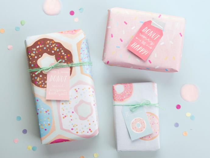"**Delicious donuts** - Perfect for the sweet tooth in your life, this printable donut wrapping paper in pretty pastels is adorable! Find the template at [Tiny Me](https://www.tinyme.com/storage/blog/Donut-Party-Printables/Tinyme_Donut_Party_Printables_2015.pdf |target=""_blank""