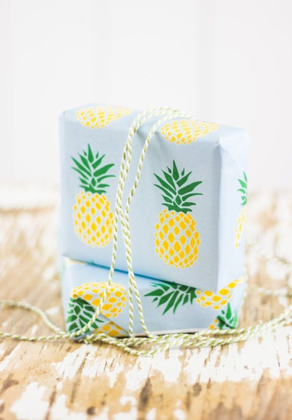 "**Pineapple party** - If you like pina coladas, then you'll love this wrapping paper! You can find it at [Titatoni](https://titatoni.de/ananas.pdf |target=""_blank""