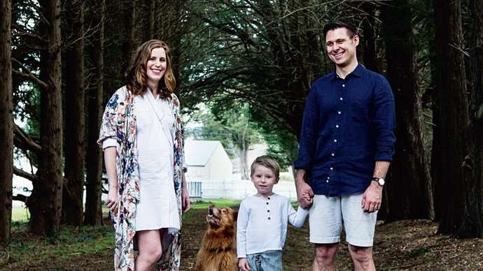 The 35-year-old designer with her husband, Hayden, and their son, Albert. The couple started Bespoke Letterpress in 2007 after falling in love with the practice of printing on cotton paper with traditional presses.  | Photo: Brigid Arnott