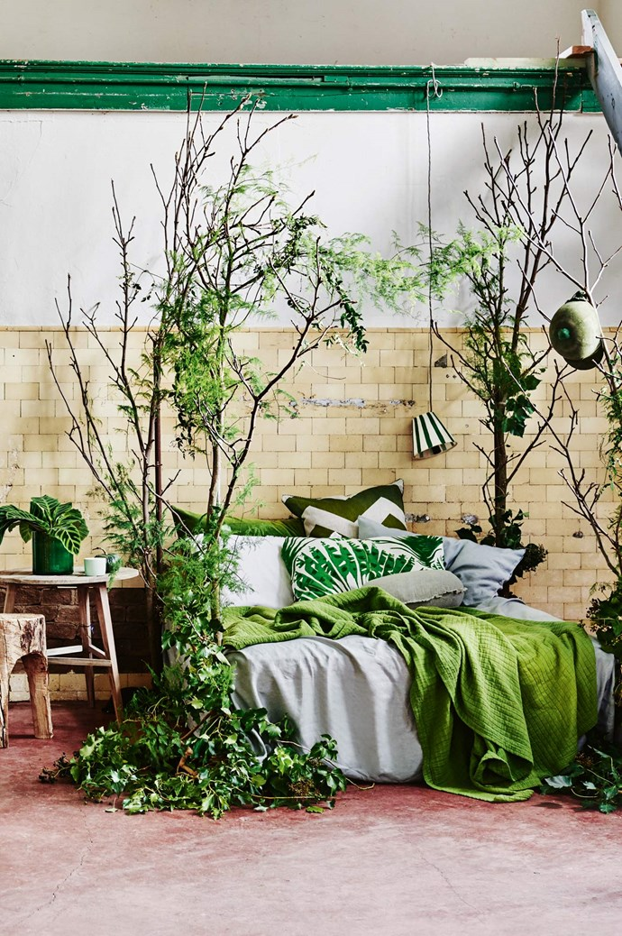 2. Add a pot plant (or several) to your bedroom. Even if your bedroom is minimalist (which, of course, we fully endorse), adding a plant or two is a beautiful way of injecting colour and life. | Photo: Lisa Cohen