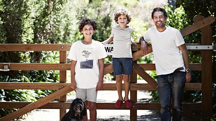 Ben, Toby, Paul and their cavoodle Baxter. At just under an hour's drive from Melbourne, Mount Martha remains a regular weekender and holiday spot for the boys.