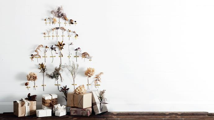 "**Washi tape tree:** This inventive washi tape tree. Using gold washi tape (or any colour of your choice), tape [dried flowers](https://www.homestolove.com.au/dried-floral-arrangement-19308|target=""_blank"") to a wall in the shape of a tree."