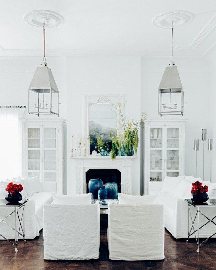 Fresh botanicals and white linen in the living room.   Photo: Felix Forest