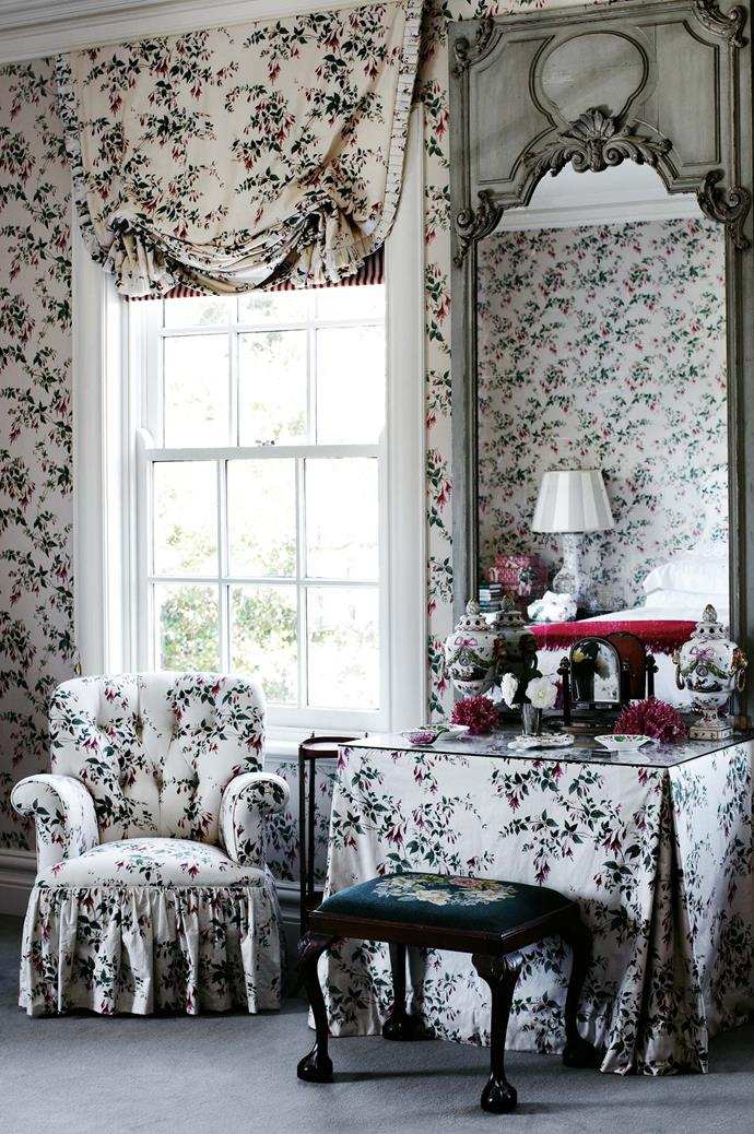 """Wallpaper and fabric in 'Fuscia' by [Colefax and Fowler](http://designs.colefax.com/Design/01070-01