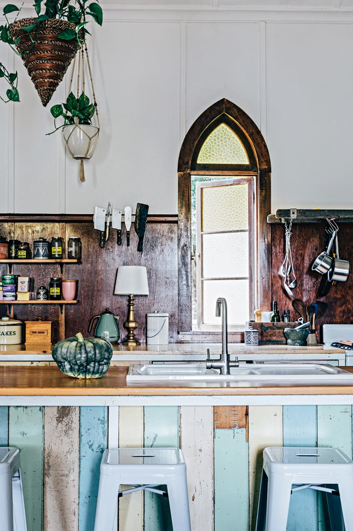The kitchen bench was built from timber recycled from Amanda's sister's house in Brisbane.