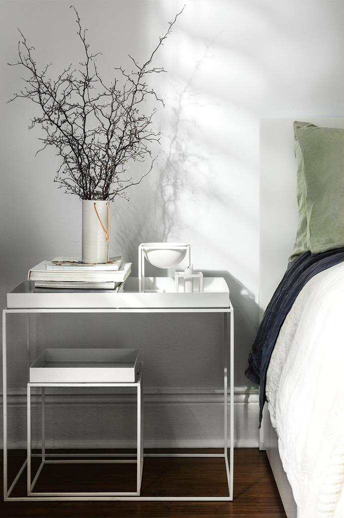 "Anne Black ceramic vase and By Lassen 'Kubus Bowl' candleholder sit on the bedside table by [Hay](https://www.homestolove.com.au/hay-homewares-online-australia-19750|target=""_blank"")."
