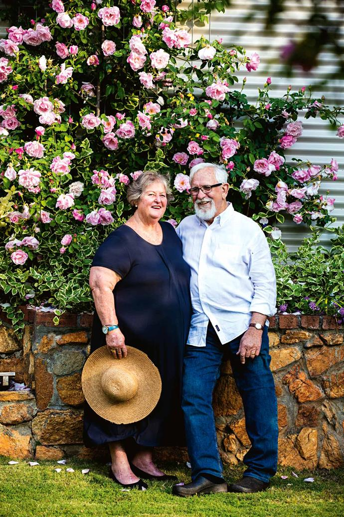 Laine and Mark Staniford in their picturesque garden. The pair moved from Perth in order to pursue their lifelong dream of producing wine using traditional winemaking methods.