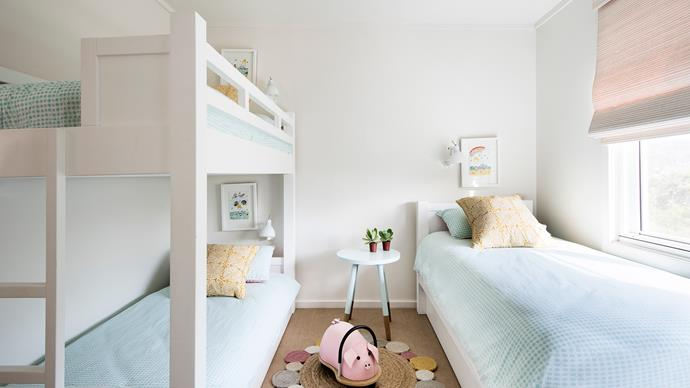 In the kids' bedroom, custom bunk beds were made to maximise space.