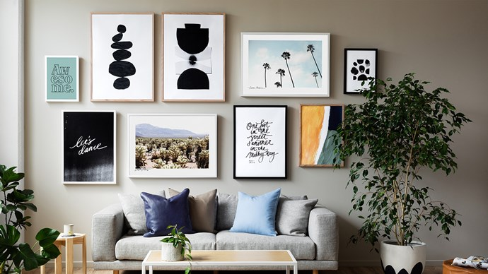 Install a gallery wall. The magic of 3M hooks means you can have a stunning gallery wall, even in a rented home. Choose light frames and have at it – there's really no limit to how big your gallery wall collection can be (save the size of your apartment). Let prints, paintings and photographs all mix and mingle.