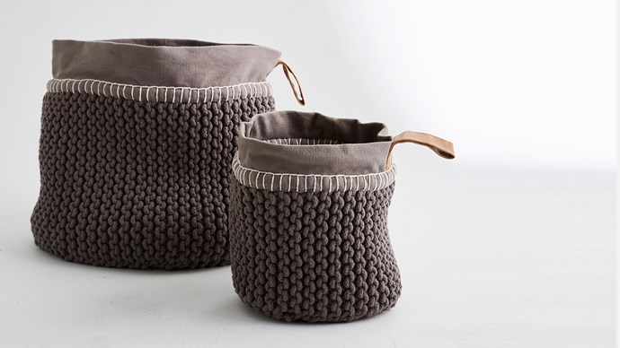Utility Rope Basket, Charcoal $79.00, from [MJG Store](http://www.mjgstore.com/baskets/128-utility-rope-basket-charcoal-9333793050619.html). Woven from soft cotton, and perfect for the little ones' dirt-smeared clothes.