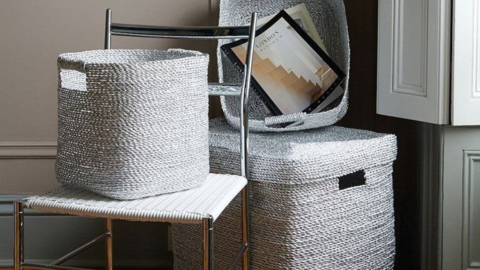 Metallic Woven Baskets, $49 - $149, from [West Elm](http://www.westelm.com.au/metallic-woven-baskets-d1405). Sturdy, braided from recycled candy wrappers, and gleaming with a silver finish.